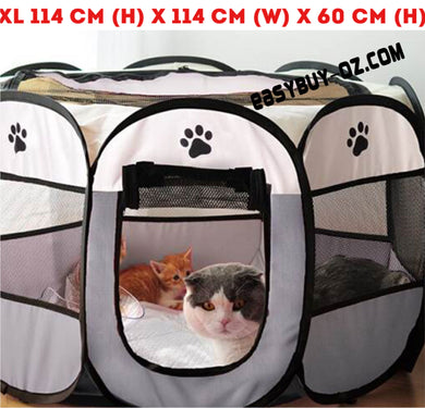 New Pet Foldable Playpen Portable 8-Panel Kennel Fences Exercise Pen Houses Soft  XL: 114 x 114 x 60cm