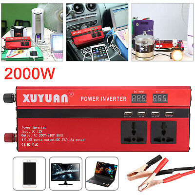New 2000W Peak Car Power Inverter With LED Display Converter 12V To 220V Camping Outdoor