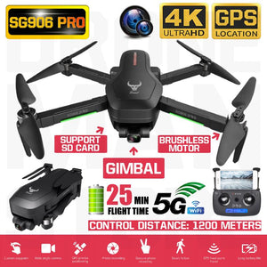 New SG906 Pro Drone 1.2 KM Flying Distance GPS 4K HD Two- Camera 5G WIFI 25 Mins Battery Drones