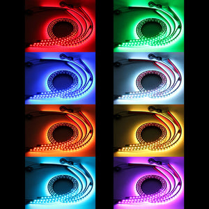 LED 4 In 1 12V Car Interior Decoration Lamp LED Automobile Chassis Lights Bar Neon Strip (2x 90cm + 2x 120cm)