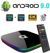 Load image into Gallery viewer, New Q Plus Android 9.0 TV Box 4GB RAM 32GB ROM WiFi 2.4GHz Quad-core cortex-A53 HDMI 2.0 Support 6K