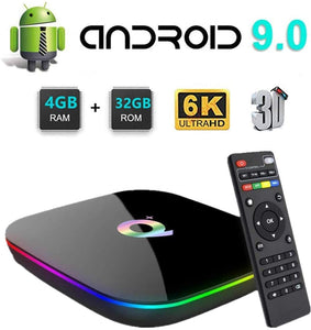 New Q Plus Android 9.0 TV Box 4GB RAM 32GB ROM WiFi 2.4GHz Quad-core cortex-A53 HDMI 2.0 Support 6K