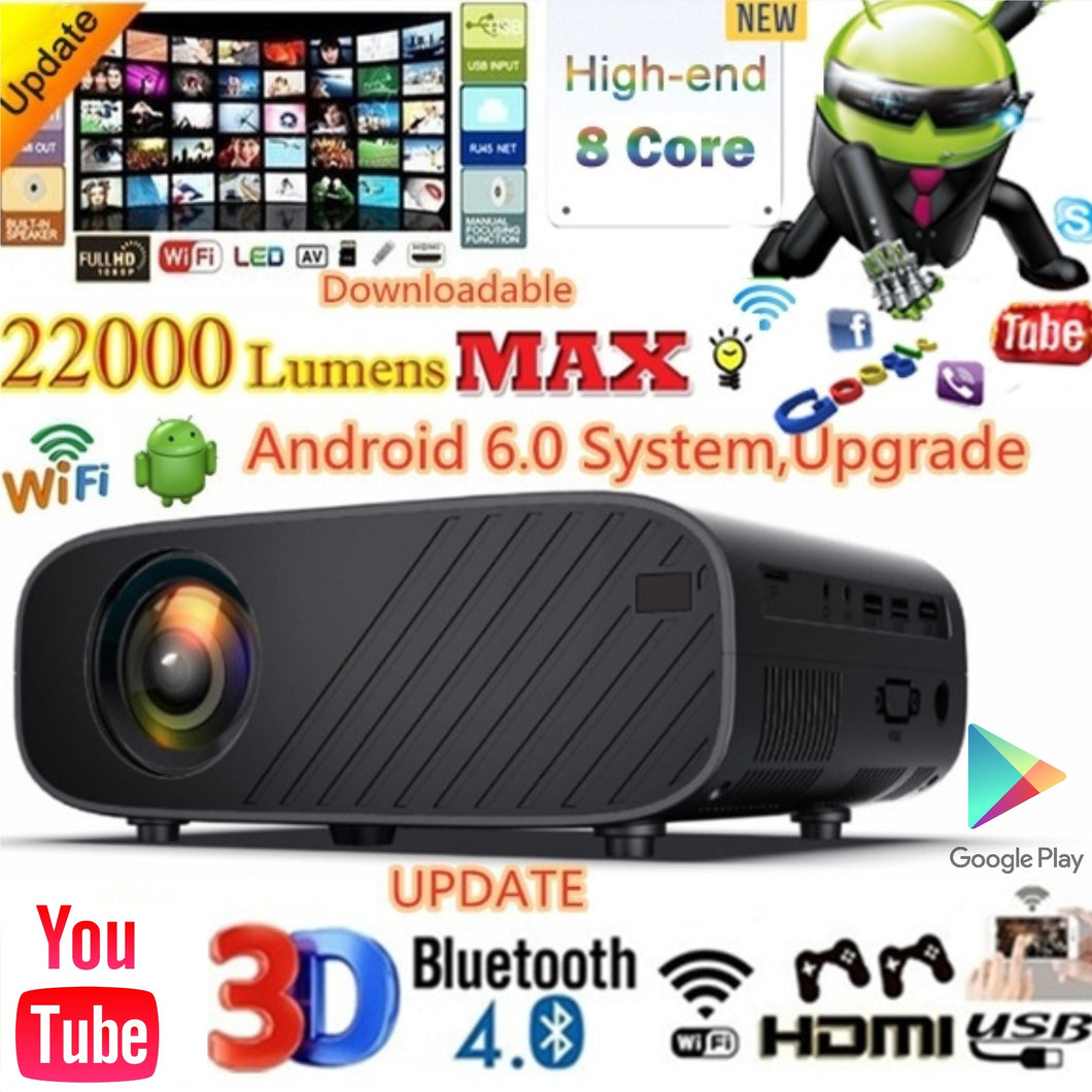 High-end Android 22000 Lumens Projector Listed Mini WiFi Mobile Phone Same Screen Projector 3D 1080P