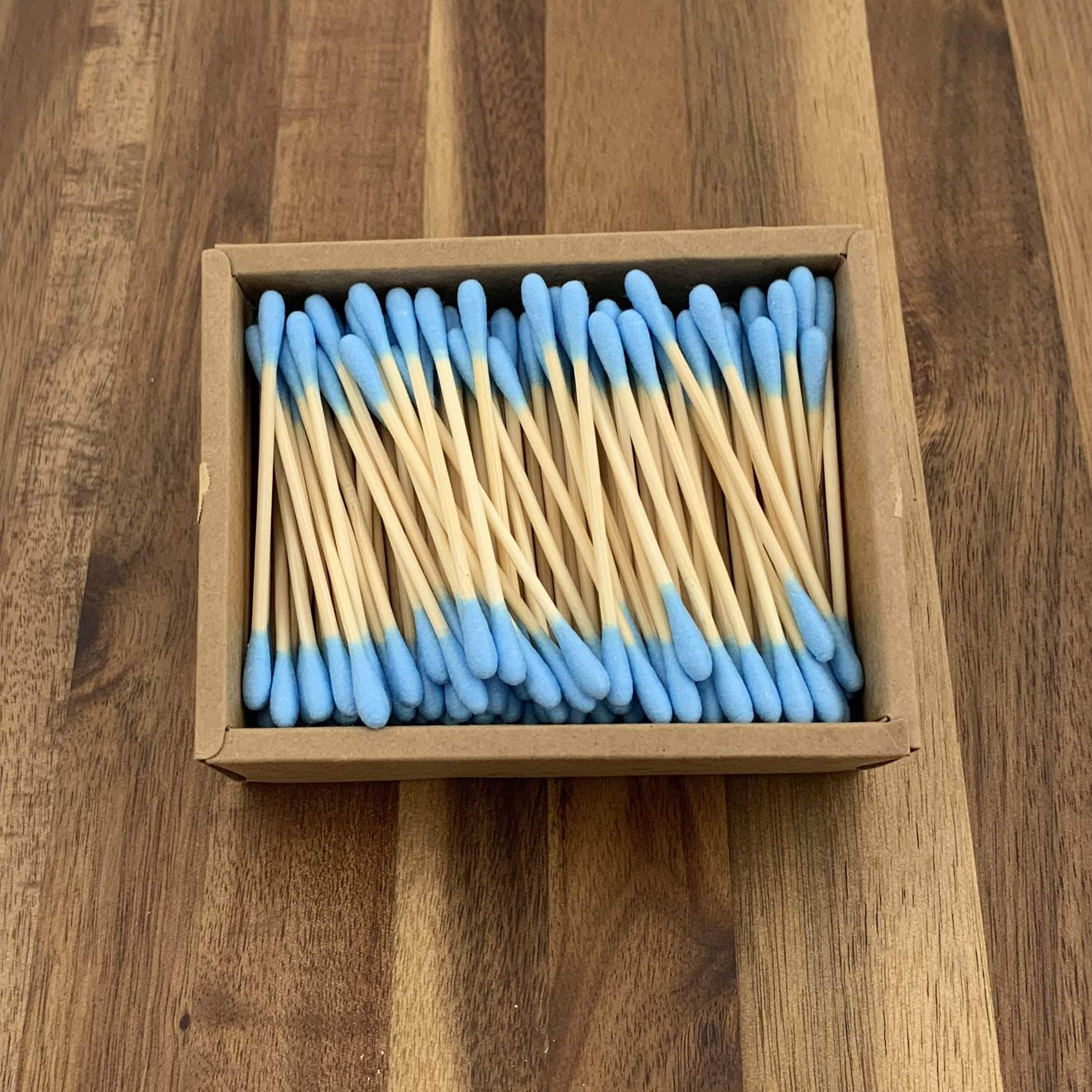 EcoBrushEarth™ Blue Bamboo Cotton Buds - 200 Buds
