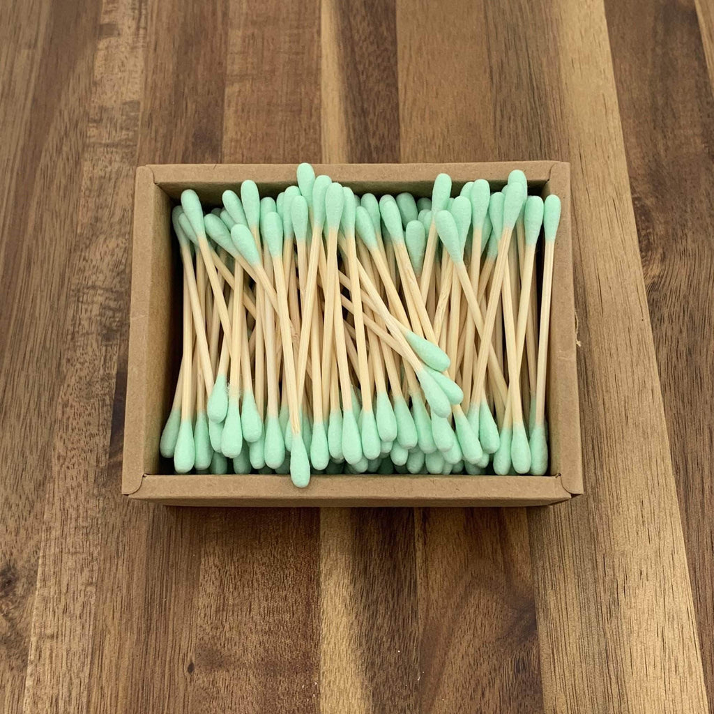 EcoBrushEarth™ Light Green Bamboo Cotton Buds - 200 Buds