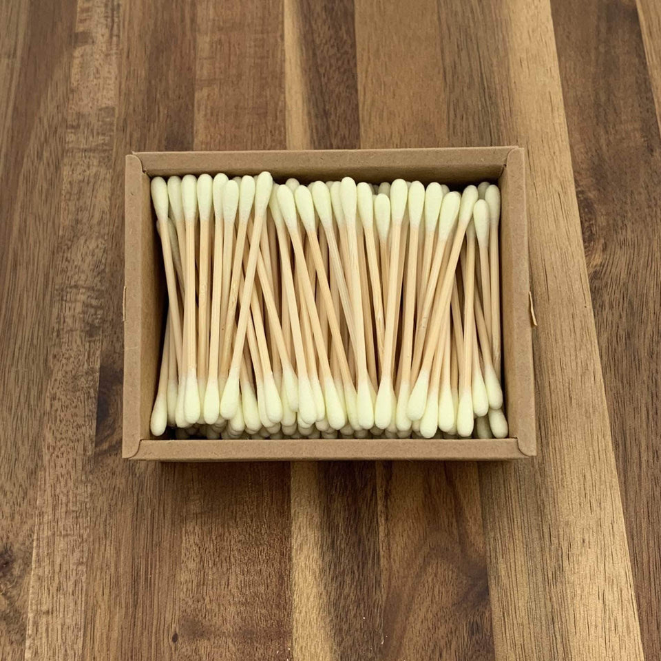 EcoBrushEarth™ Light Yellow Bamboo Cotton Buds - 1000 Buds