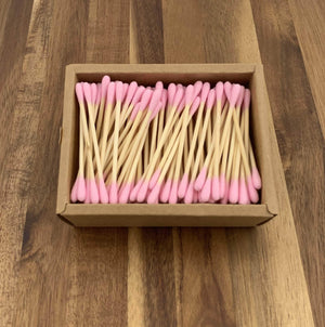 EcoBrushEarth™ Pink Bamboo Cotton Buds - 200 Buds