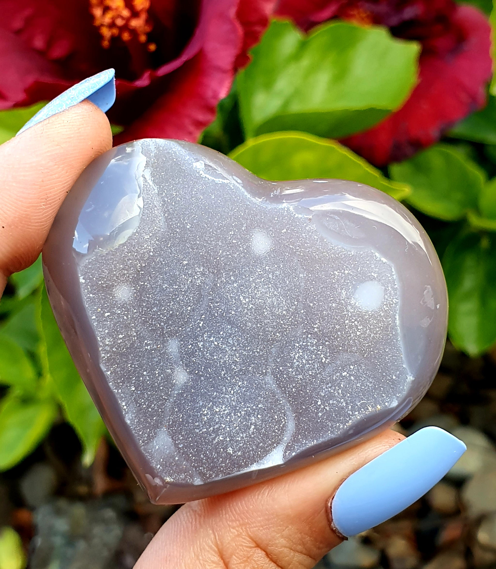 Natural Agate Polished Heart With Druze