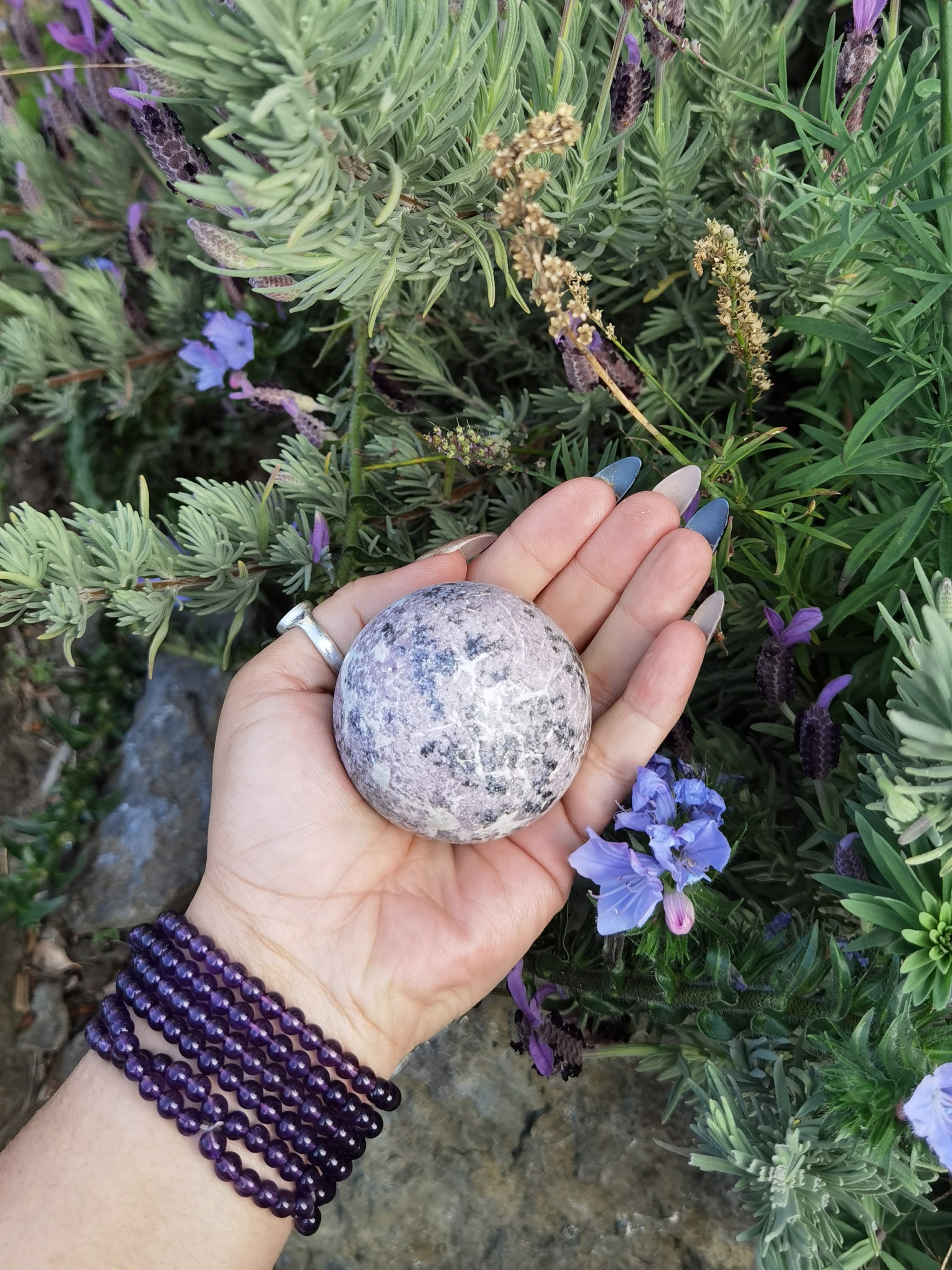 Lepidolite With Black Tourmaline Sphere