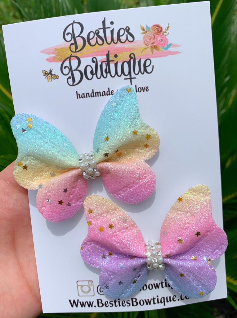 Pastel Rainbow Butterfly Piggy Set