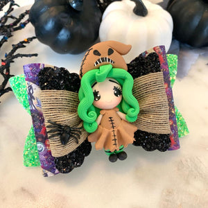 "Oogie Boogie Girl 4.5"" Glitter Bow with Clay Center"