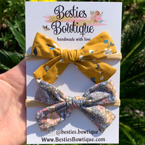 "Set of Two 3.5"" Fabric Bows on Nylon Headband"