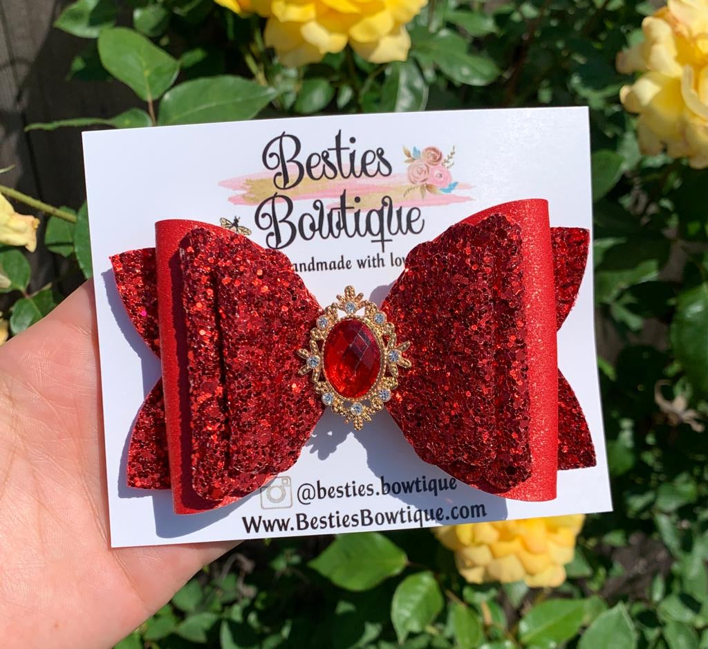"Red 4.5"" Glitter Bow"