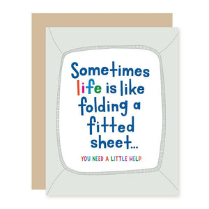 fitted sheet greeting card
