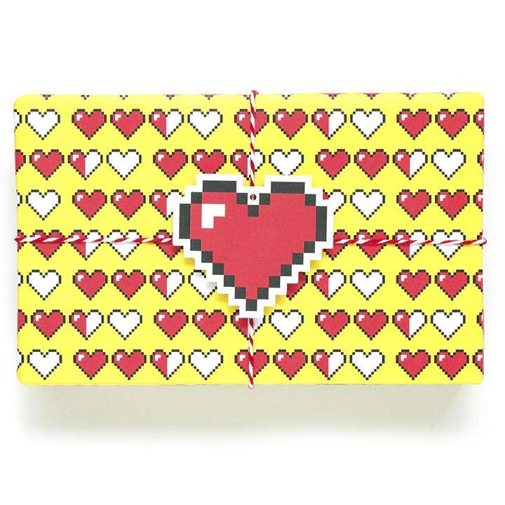 pixel hearts wrapping paper