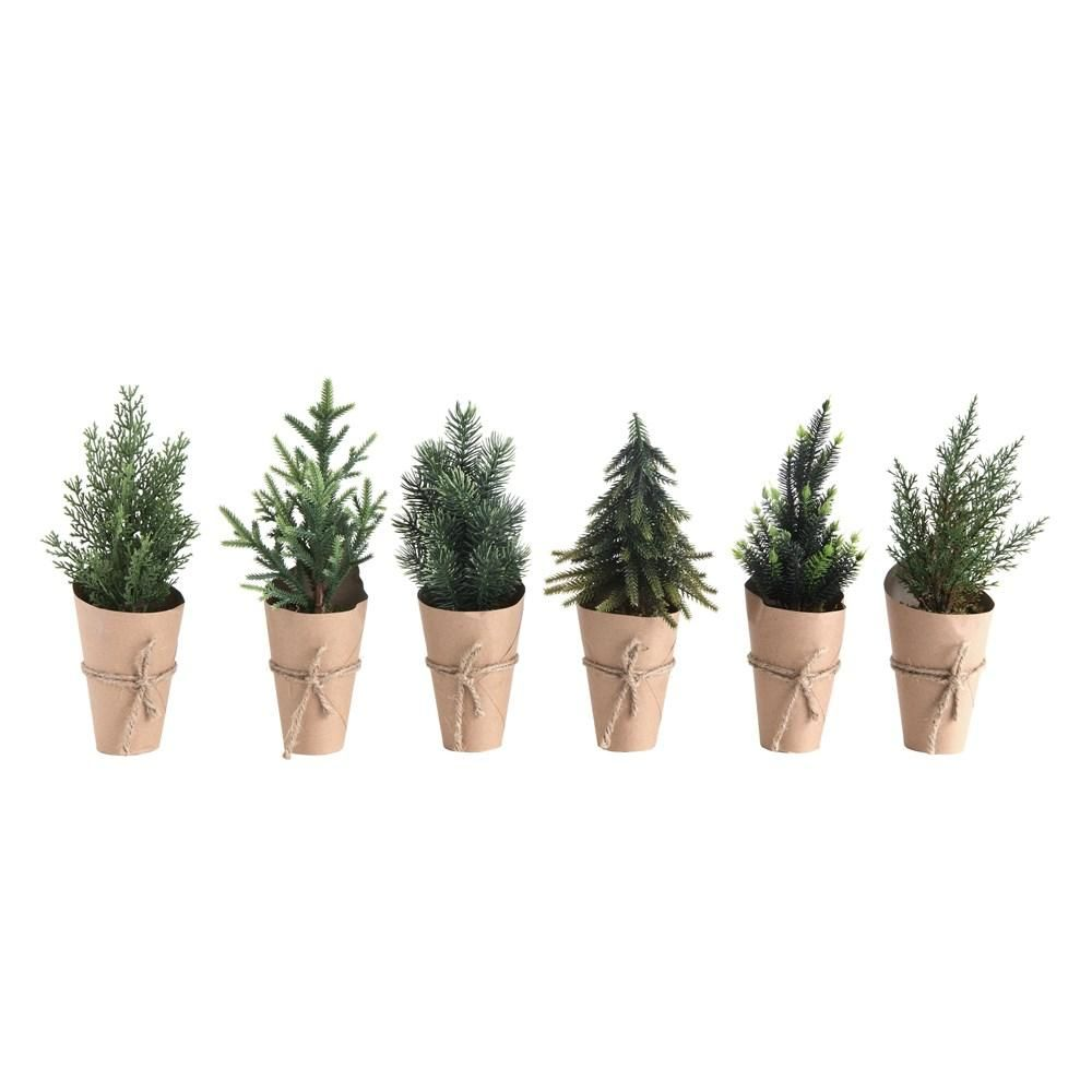 faux potted mini evergreen trees