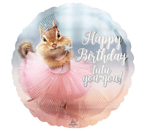 Happy Birthday Squirrel Tutu Mylar Balloon