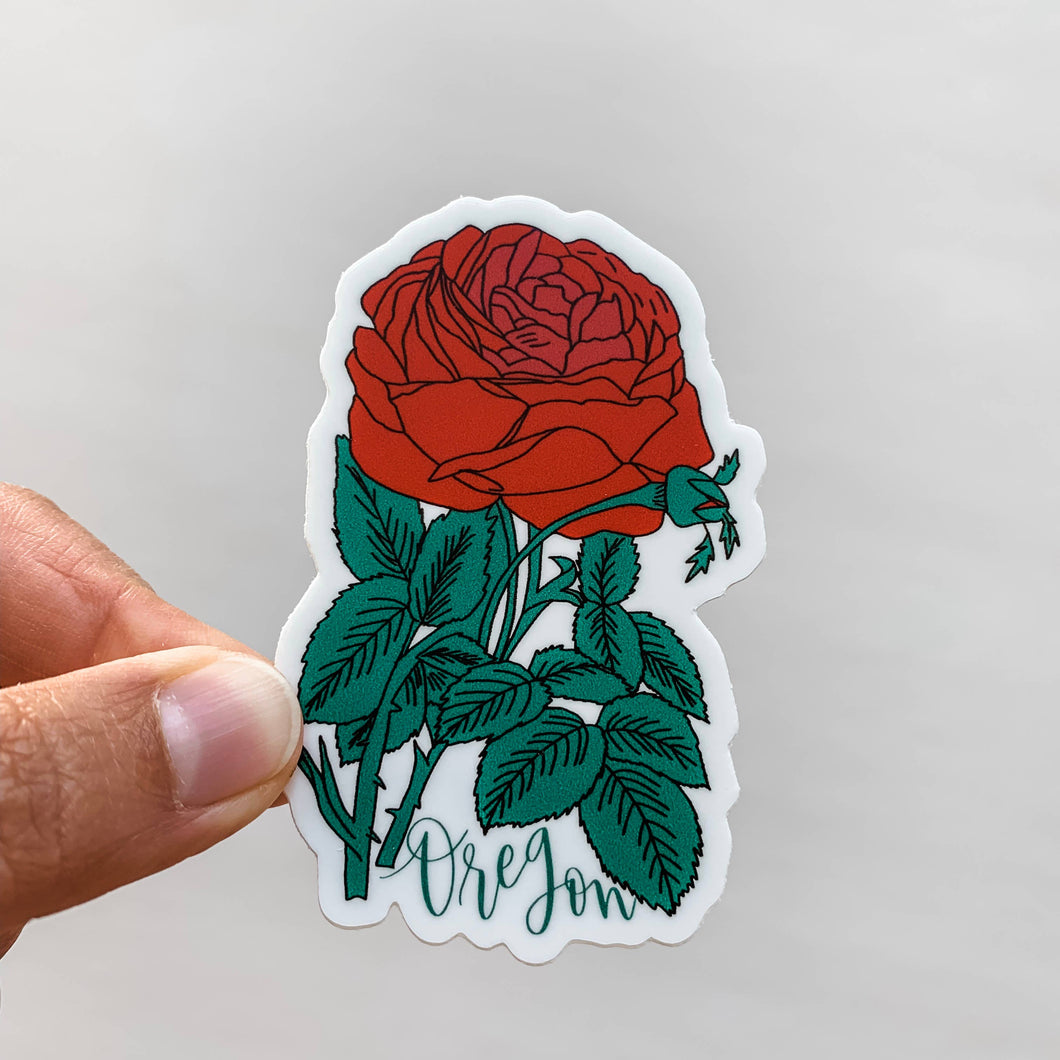 oregon red rose flower state sticker