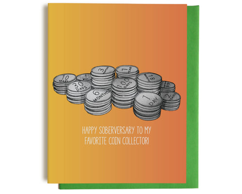 coin collector sobriety congratulations greeting card