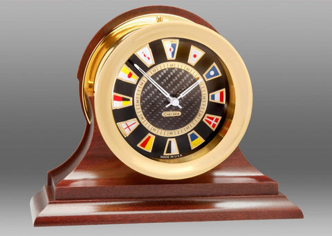 Brass Nautical Black Flag Desk Clock