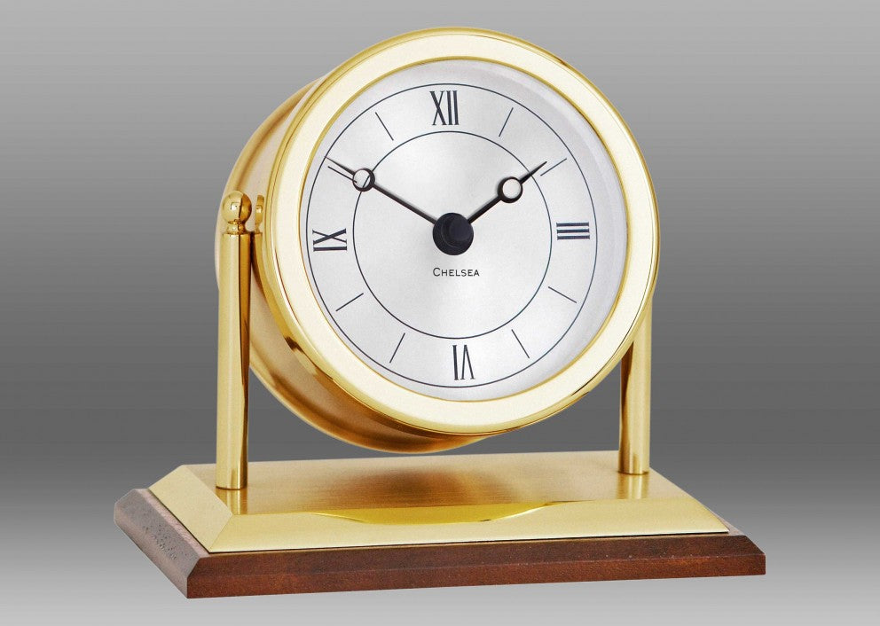 "Brass ""Chatham"" Quartz Desk Clock"
