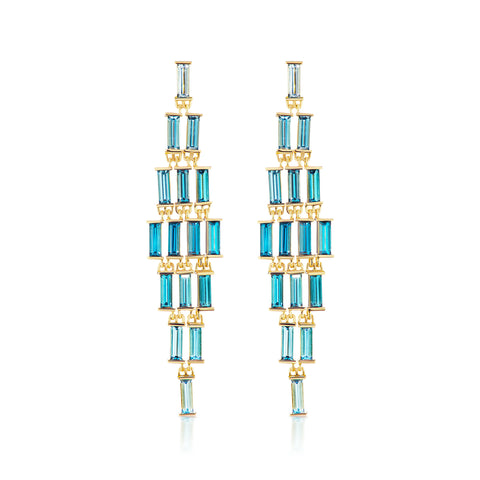 Cirque London Blue Topaz Baguette Cascade Earrings