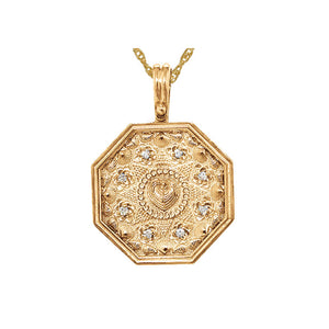 Large Sailor's Valentine Pendant with Diamonds