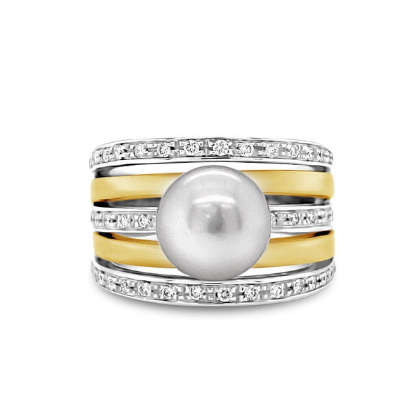 Cultured Pearl & Diamond Cocktail Ring