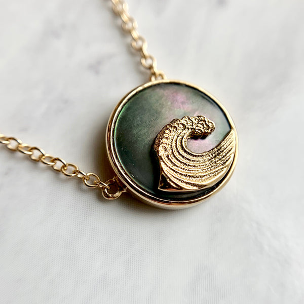 Black Mother-of-Pearl & Wave Necklace