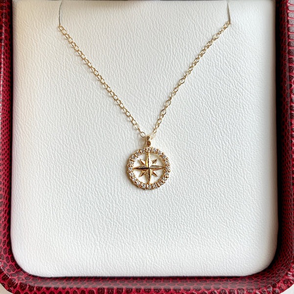 Tiny Diamond Compass Rose Necklace