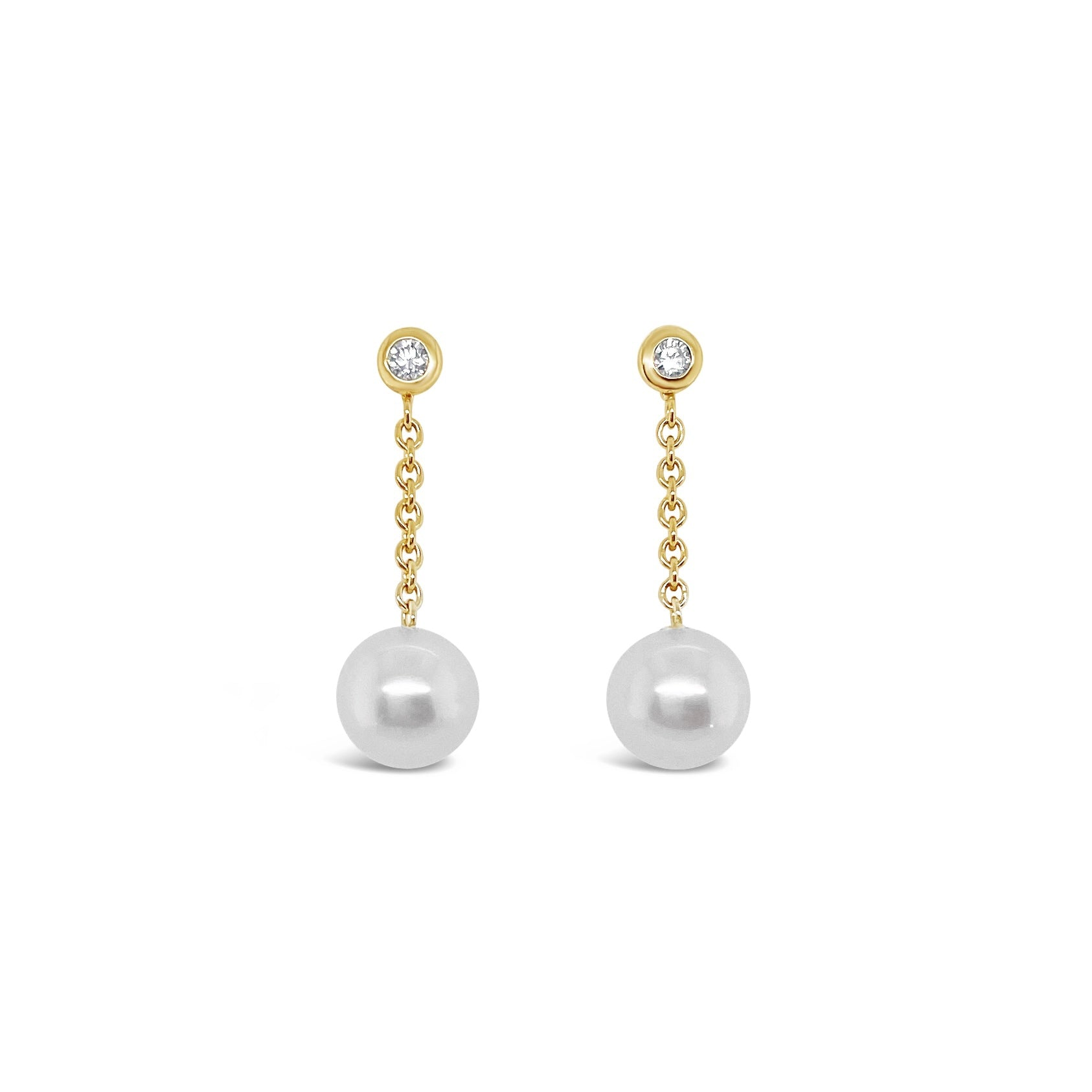 Pearl & Diamond Chain Drop Earrings