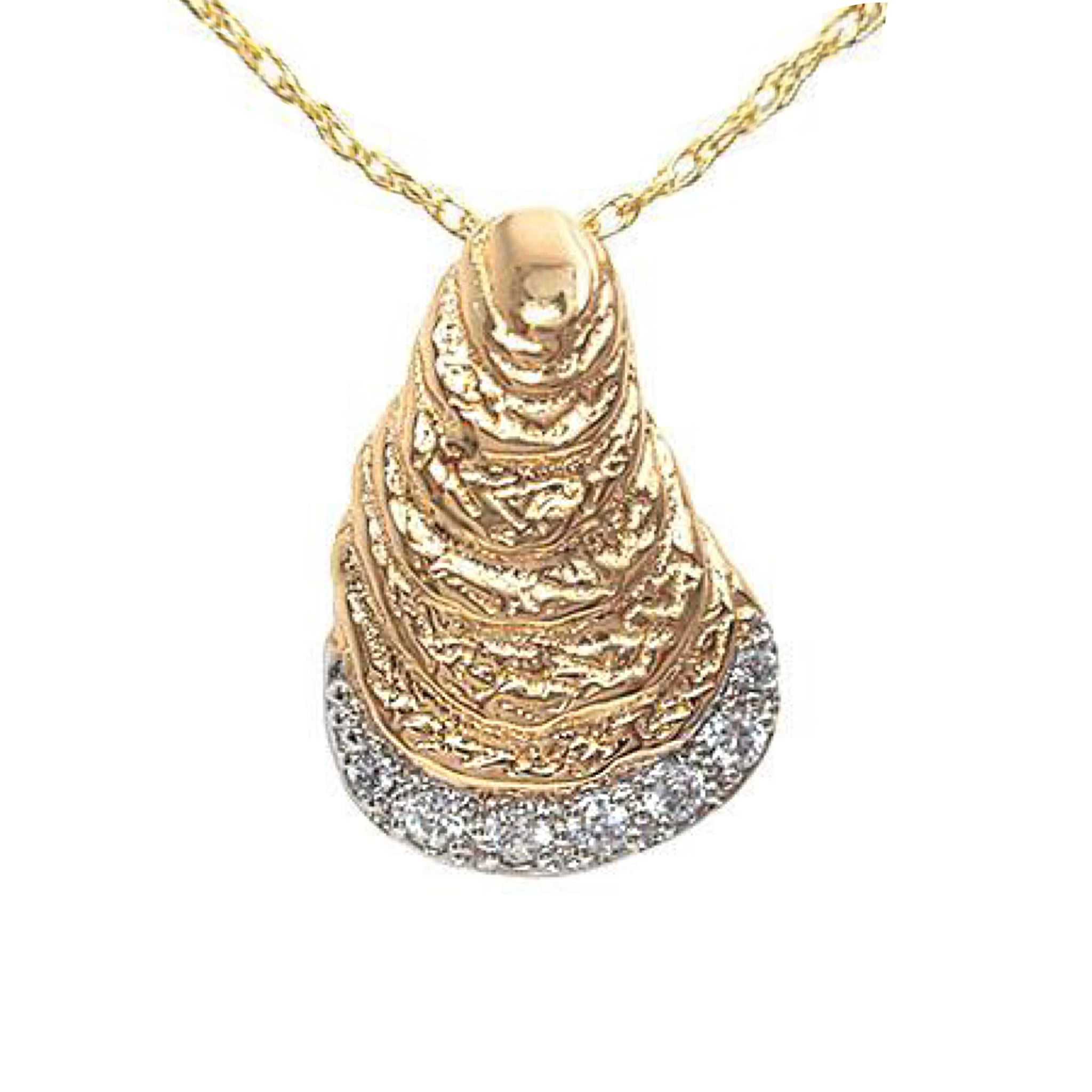 Large Diamond Rim Oyster Pendant