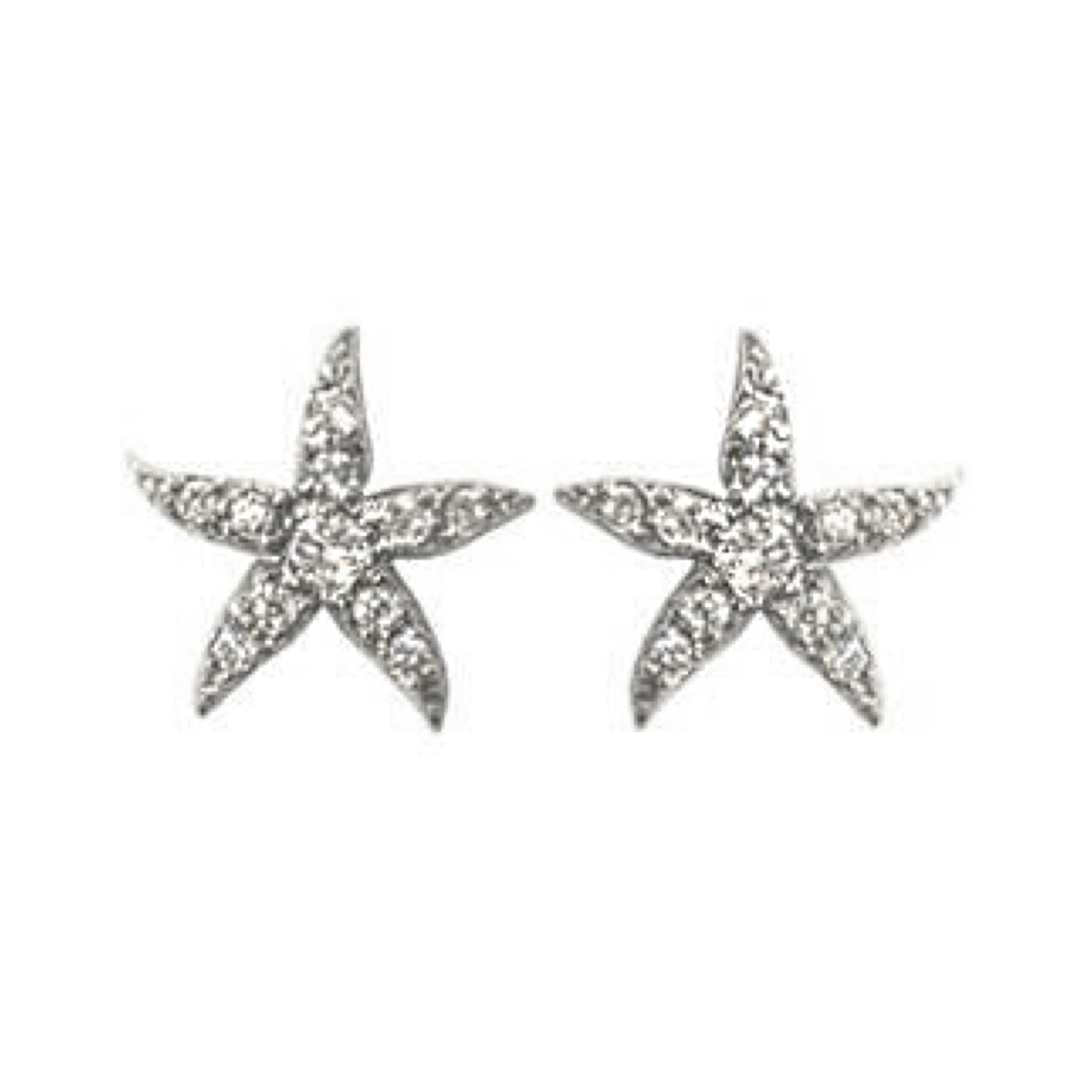 Tiny Diamond Starfish Earrings