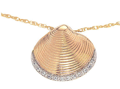 Diamond Edge Clam Shell Pendant