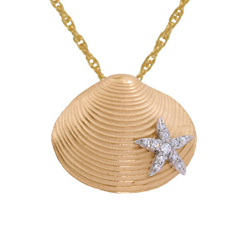 Clam Shell with Diamond Starfish Pendant