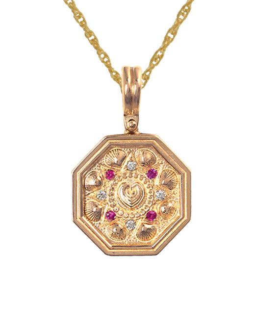 Ruby & Diamond Sailor's Valentine Pendant