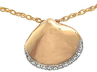 Diamond Rim Polished Clam Shell Pendant
