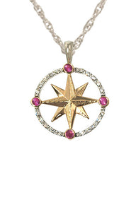 Diamond & Ruby Compass Rose Pendant