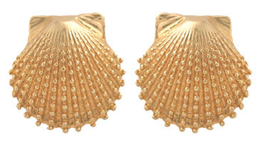 Gold Knobby Scallop Shell Earrings