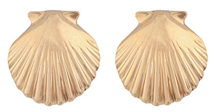 Gold Shiny Scallop Shell Earrings