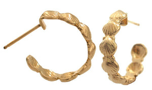 Gold Scallop Shell Hoop Earrings