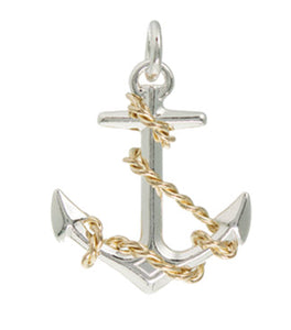 Silver & Gold Fouled Anchor Pendant