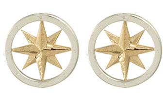 Tiny Compass Rose Earrings