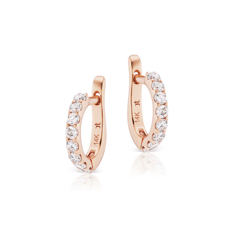 Rose Gold Cirque Slim Pavé Diamond Huggies