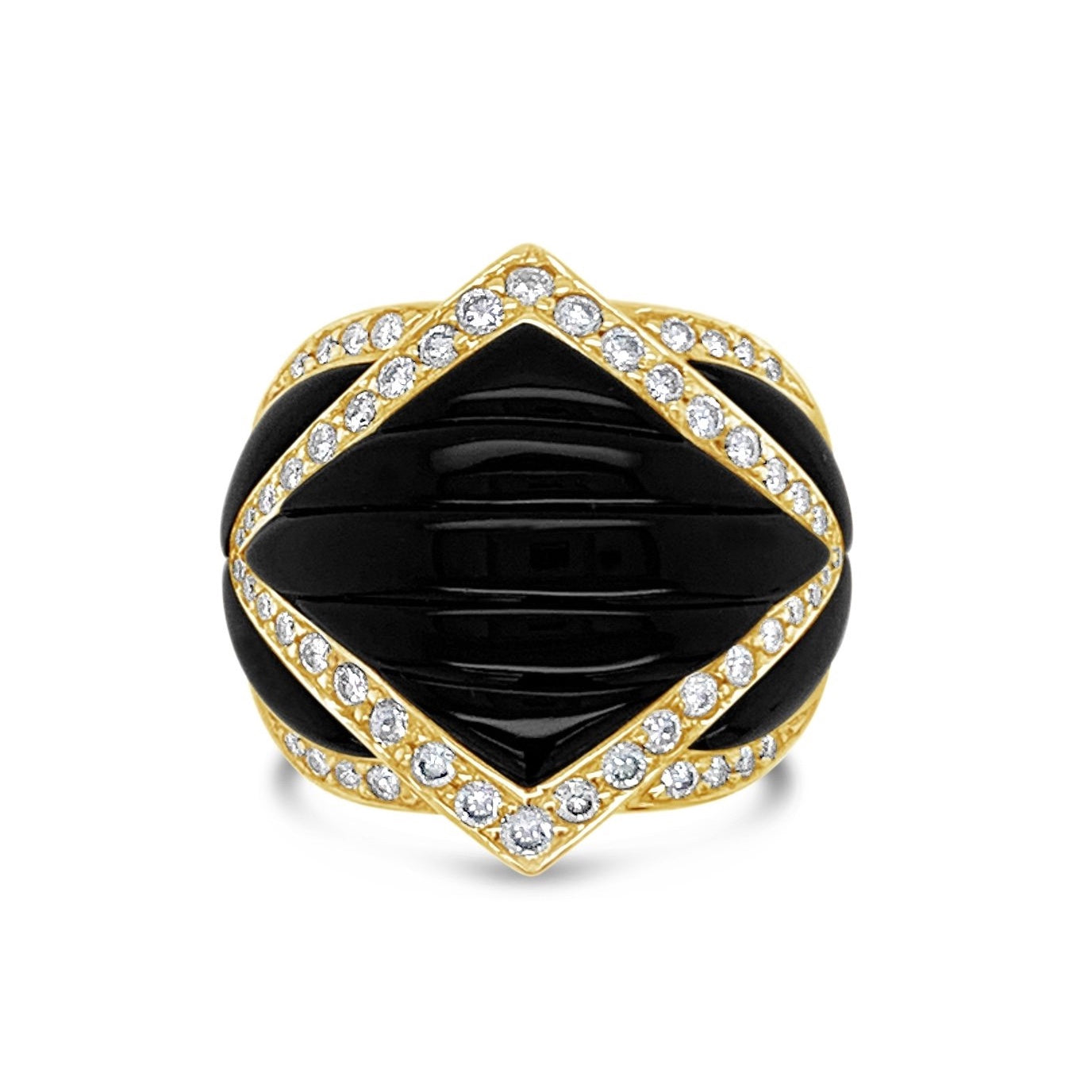 Carved Black Onyx & Diamond Ring