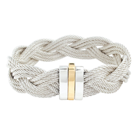 Silver 9-Cable Braid Bracelet
