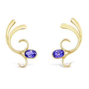 "Tanzanite ""Dancing Curl"" Earrings"