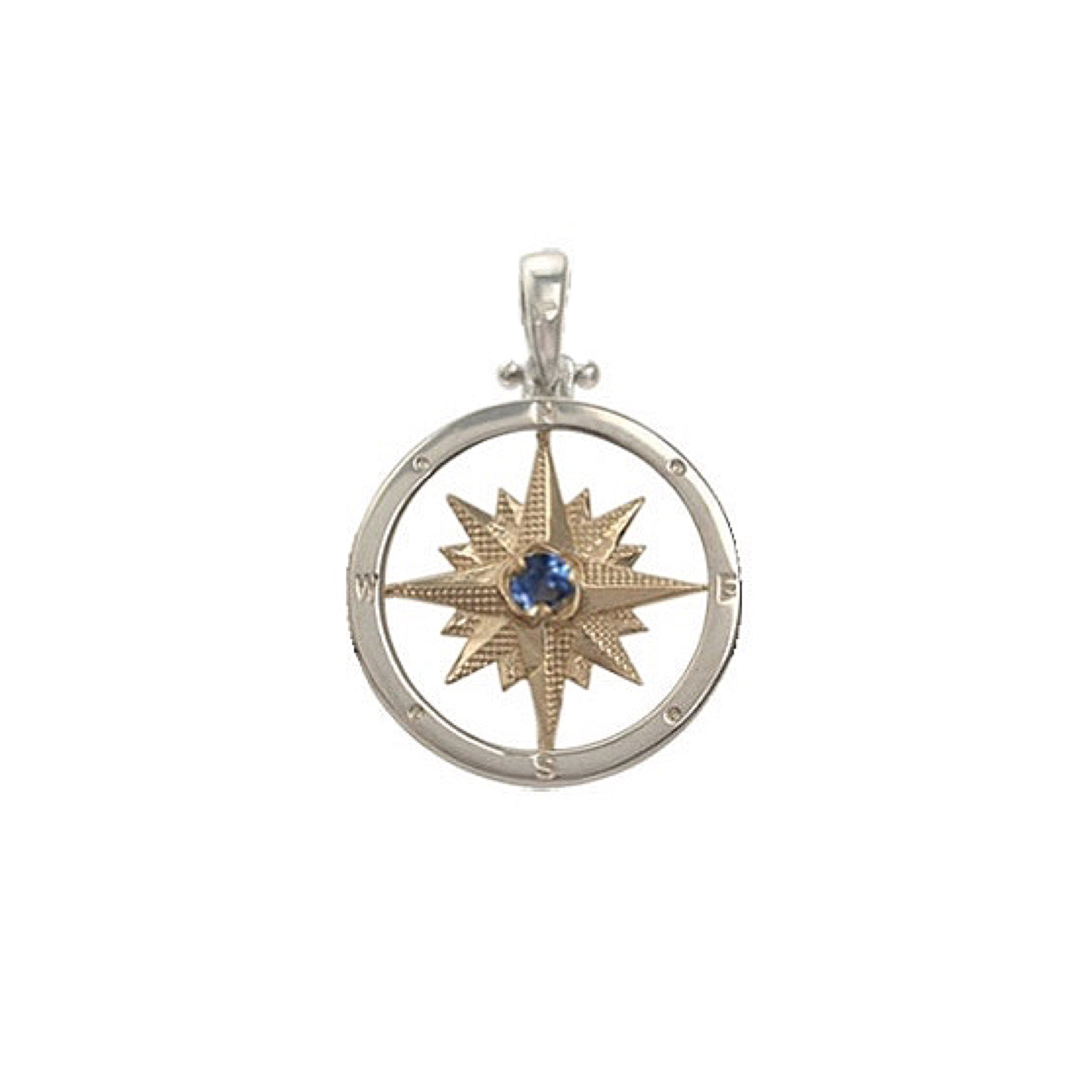 Compass Rose Pendant with Sapphire