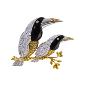 Birds of a Feather Diamond Pin