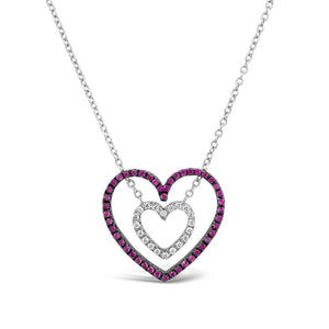 Pink Sapphire & Diamond Heart Necklace